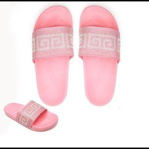 Shoes - Pink Greek Design Slippers